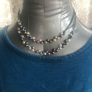 "Lia Sophia Tahitian Fresh Water Pearl Necklace 18"""